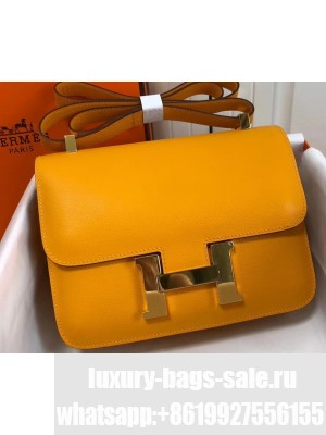 Hermes Constance Mini/MM Bag in Epsom Leather Yellow with Gold Hardware