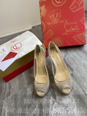 Christian Louboutin Grained Leather Crystal Mesh 10cm Peep-toe Platform 03 2021 Collection