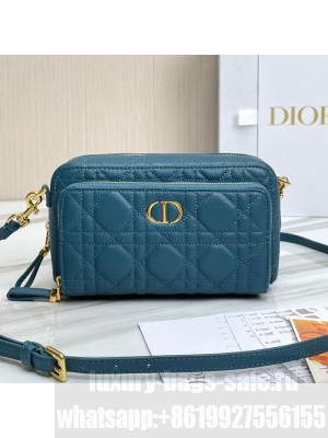 Dior Caro Double Pouch in Ocean Blue Supple Cannage Calfskin  2021 Collection