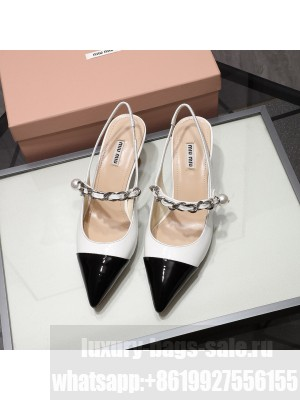MIU MIU LEATHER POINTED Slingback Strap with chain and button 55 mm heel White/Black