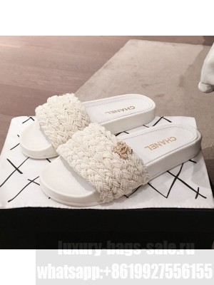 Chanel Tweed Pearls Flat Mule Slide Sandals G35696 White 2020 Collection
