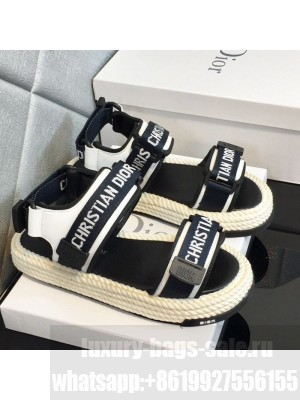 Dior D-Wander Fabric Flat Strap Sandals Black/White Spring/Summer 2021 Collection 05