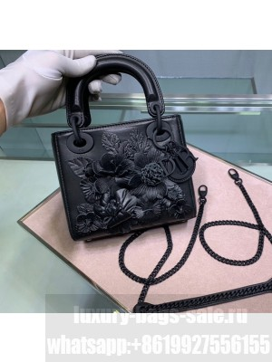 Dior Lady Dior Mini Bag in Lambskin Leather With Flower Black  2021 Collection