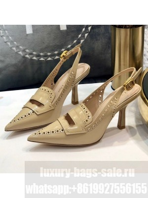 Dior Boy-D Perforated Calfskin CD Slingback Pumps 80mm Heel Nude 2020 Collection
