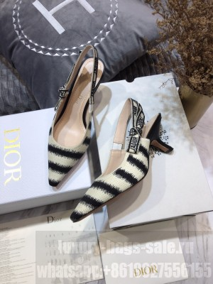 Dior J'Adior Slingback Pumps 6.5cm in Blue D-Stripes Embroidery 2021 Collection