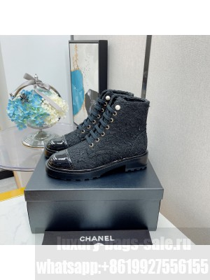Chanel Lace Up Tweed & Patent leather White 011 2021 Collection