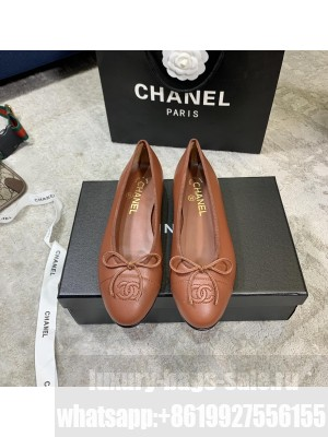Chanel Ballerina Flats Lambskin Leather Spring/Summer 2021 Collection,Brown