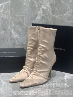 ALEXANDER WANG HEEL 10.5CM SATIN VANNA STRETCH POINTED BOOTS NUDE 2020 F/W