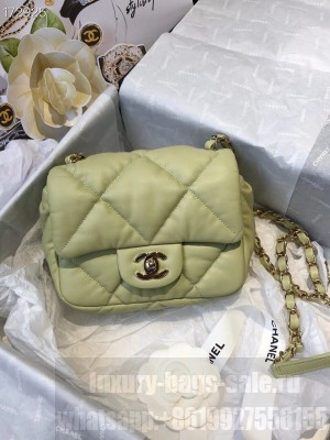 Chanel Bubble Flap Bag 18cm Calfskin Leather Gold Hardware Fall/Winter 2020 Collection, Green
