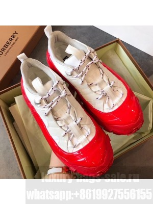 Burberry Nylon and Suede Arthur Sneakers White/Red 2020