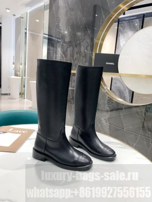 Chanel Calfskin Black Long Boots 02 2021 Collection