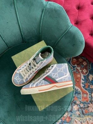 Gucci Unisex Tennis 1977 GG Multicolor high-top Sky Blue Sneaker 2021 Collection