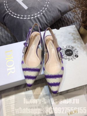 Dior J'Adior Slingback Ballerina Flat in Purple D-Stripes Embroidery 2021 Collection