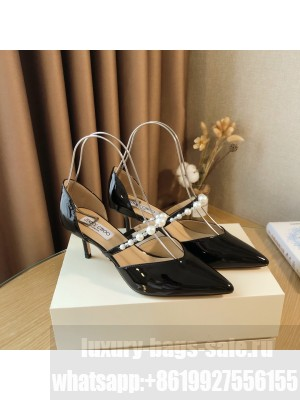 Jimmy Choo Black patent leather 6.5cm Pumps with Pearl Embellishment 2021 Collection