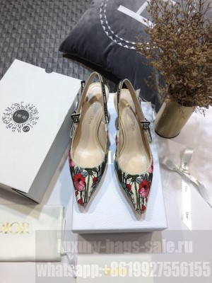 Dior J'Adior Slingback Pumps 6.5cm in Multicolor Mille Fleurs Embroidered Cotton 2021 Collection