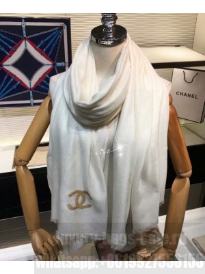 Chanel Women s Sequined Logo Print Long Scarf White