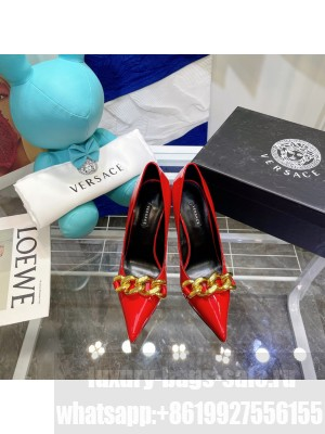 VERSACE MEDUSA CHAIN NAPPA LEATHER PUMPS RED 2021 Collection