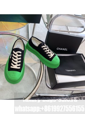 Chanel Canvas 5cm Platform Sneakers Green 2021 Collection