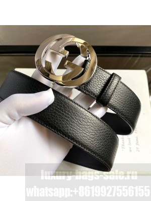 Gucci Calfskin Belt 38mm with Interlocking Shiny G Buckle Black/Silver 2020 Collection