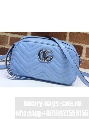 Gucci Leather GG Marmont Small Shoulder Camera Bag 447632 Pastel Blue 2020