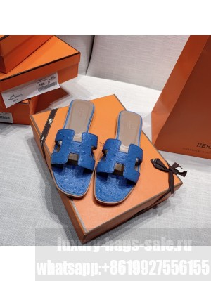 Hermes Oran Flat slippers with Ostrich Leather 082 2021 Collection