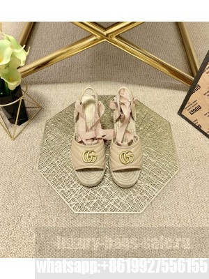 Gucci GG Lambskin Wedge Sandals Beige 2021 Collection