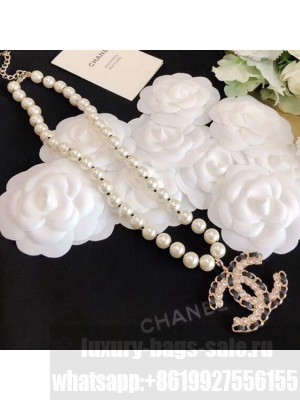 Chanel Chain Leather Pearl Necklace AB2969 2020 Collection