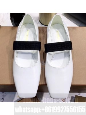 Burberry Logo Detail Leather Flats White 2020