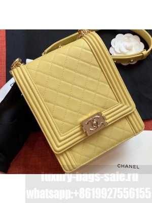 Chanel Boy North/South Small Flap Bag AS0130 Yellow 2019