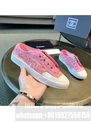 Chanel Cotton Tweed Platform Open Sneakers Pink 2021 Collection