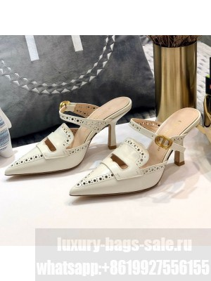 Dior Boy-D Perforated Calfskin CD Mules 80mm Heel White 2020 Collection