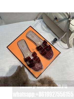 Hermes Oran Flat slippers with Stone pattern Burgandy 078 2021 Collection