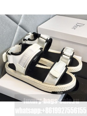 Dior D-Wander Fabric Flat Strap Sandals White Spring/Summer 2021 Collection 01