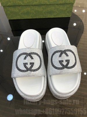 GUCCI GG SLIDE SANDALS WITH DIAMONDS WHITE 2021 Collection