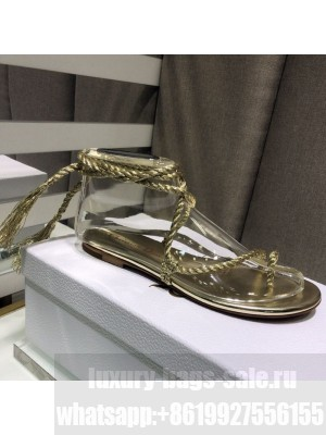 Dior Cord Lace up Flat Sandals Gold Spring/Summer 2021 Collection