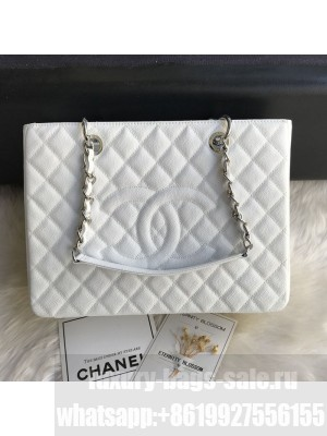 Chanel Grained Calfskin Grand Shopping Tote GST Bag White/Silver Collection