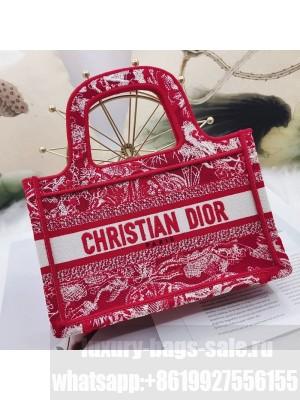 Dior Mini Book Tote Bag in Red Toile de Jouy Embroidery  2021 Collection
