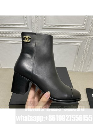 Chanel Calfskin Wooden Thick Boot Black 2021 Collection