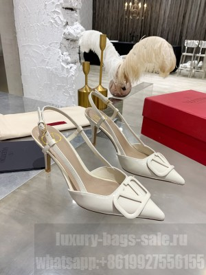 VALENTINO VLOGO SIGNATURE PATENT LEATHER SLINGBACK PUMP 70MM WHITE 2021 Collection