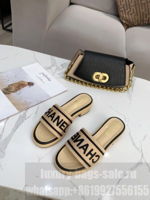 Chanel logo slippers in Canvas with leather 30mm Spring/Summer 2021 Collection Beige