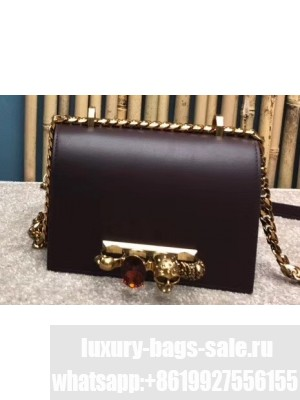 Alexander Mcqueen Small Jewelled Satchel Bag Smooth Calf Leather Burgundy
