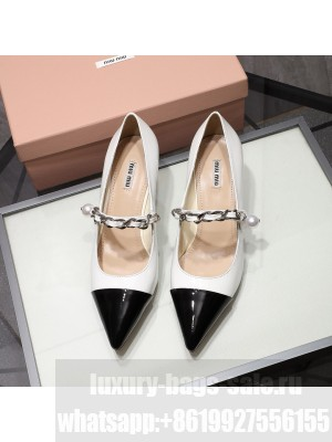 MIU MIU LEATHER POINTED PUMPS Strap with chain and button 55 mm heel White/Black