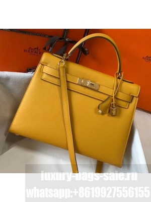 Hermes Kelly 32cm Top Handle Bag in Epsom Leather Ginger 2020 Collection
