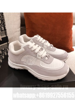 Chanel Suede Sneakers Light Grey Spring/Summer 2021 Collection 03