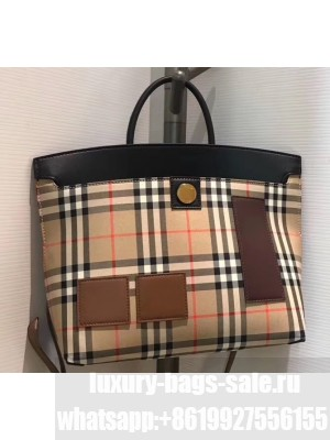 Burberry Society Vintage Check Tote Bag Patches