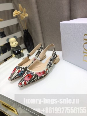 Dior J'Adior Slingback Ballerina Flat in Multicolor Mille Fleurs Embroidered Cotton 2021 Collection