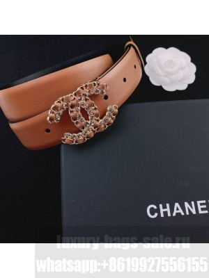 Chanel Smooth Calfskin Belt 3cm with Chain Leather CC Buckle Brown  2021 Collection