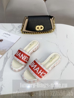 Chanel logo slippers in Canvas with leather 30mm Spring/Summer 2021 Collection White/Red