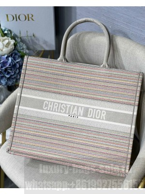 Dior Large Book Tote Bag in Multicolor Stripes Embroidery  2021 Collection