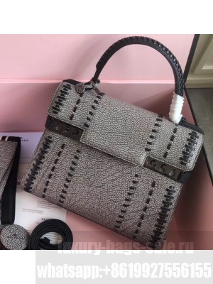 Delvaux Tribal Stitch Tempete MM Top Handle Tote Bag Gray